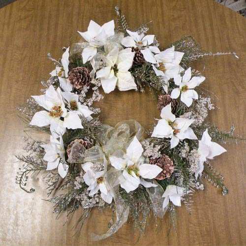 White Glitter Poinsettia Wreath